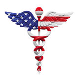 Caduceus American Flag. On white background. 3D render Royalty Free Stock Images