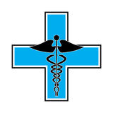 Caduceus on blue cross Stock Photos