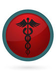 Caduceus button. A glossy caduceus button in white background stock illustration