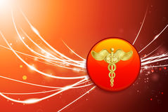 Caduceus Button on Red Abstract Light Background Stock Photos