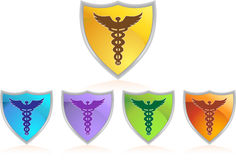 Caduceus Color Chrome Shield Set Royalty Free Stock Photo