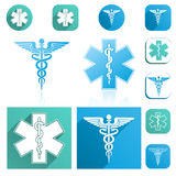 Caduceus and Esculapius Staff Icons Set Stock Photos