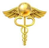 Caduceus Globe Medical Symbol Concept. A caduceus globe medical symbol concept of a gold medical or hearth care icon caduceus with a world earth globe Stock Photo