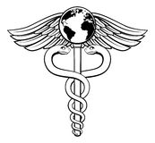 Caduceus Globe Medical Symbol. A caduceus medical symbol concept of a medical or hearth care icon with a world globe earth on the top Royalty Free Stock Image
