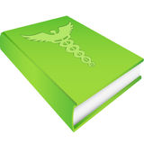 Caduceus - on Green Book. A 3D green book with a caduceus symbol on cover Stock Images