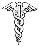 Caduceus, Grieks teken of symbool Stock Foto's