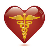 Caduceus in heart medical symbol . Stock Image