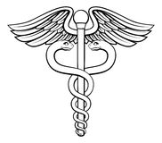 Caduceus. An illustration of the caduceus symbol of two snakes intertwined around a winged rod. Associated with healing and medicine Stock Photos