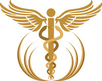 Caduceus logo. Illustration art of a caduceus logo with isolated background Royalty Free Stock Image