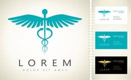Caduceus medical logo. Emblem for drugstore or medicine vector illustration