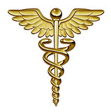 Caduceus Medical Symbol. As a health care and medicine icon with snakes crawling on a pole with wings on golden metal texture isolated on a white background Royalty Free Stock Image