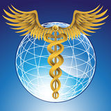 Caduceus Medical Symbol with 3D Globe. Caduceus Medical symbol - gold with globe background Stock Photography