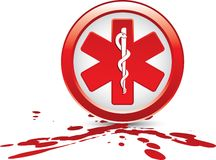 Caduceus medical symbol on blood splatter Royalty Free Stock Images