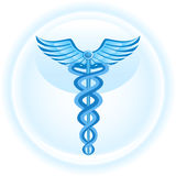 Caduceus Medical Symbol - Blue Background stock image