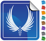 Caduceus Medical Symbol - Button. Caduceus Medical symbol - web button sticker style Royalty Free Stock Photos