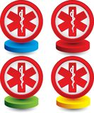 Caduceus medical symbol on colored discs Royalty Free Stock Image