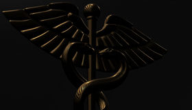 Caduceus - medical symbol, 3d render. Medical 3d render symbol, Caduceus Stock Photography