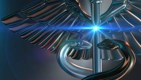 Caduceus - medical symbol, 3d render. Medical 3d render symbol, Caduceus Stock Photos
