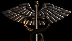Caduceus - medical symbol, 3d render. Medical 3d render symbol, Caduceus Royalty Free Stock Photography