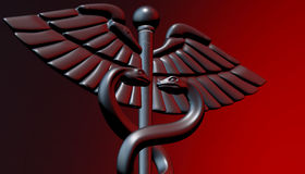 Caduceus - medical symbol, 3d render. Medical 3d render symbol, Caduceus Royalty Free Stock Photos