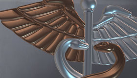 Caduceus - medical symbol, 3d render. Medical 3d render symbol, Caduceus Stock Photography