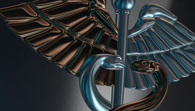 Caduceus - medical symbol, 3d render. Medical 3d render symbol, Caduceus Stock Photo