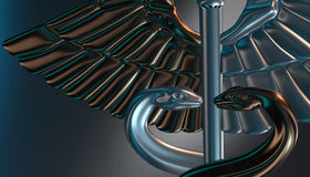 Caduceus - medical symbol, 3d render. Medical 3d render symbol, Caduceus Royalty Free Stock Images