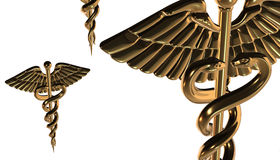 Caduceus - medical symbol, 3d render. Medical 3d render symbol, Caduceus Royalty Free Stock Image