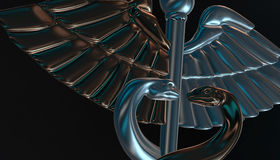 Caduceus - medical symbol, 3d render. Medical 3d render symbol, Caduceus Stock Photos