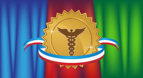 Caduceus Medical Symbol with Drapes and Ribbon Stock Images