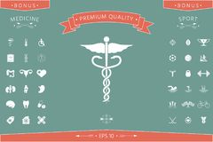 Caduceus medical symbol. Element for your design . Signs and symbols - graphic elements for your design Stock Image