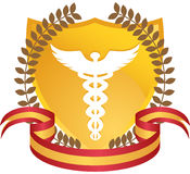 Caduceus Medical Symbol - Gold with Ribbon. Caduceus Medical shield symbol - with red and yellow ribbon Stock Image