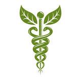 Caduceus medical symbol, graphic vector emblem for use in health Royalty Free Stock Images