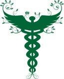Caduceus Medical Symbol - Green vector illustration