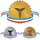 Caduceus Medical Symbol - Set of 3 with Ribbon Royalty Free Stock Image