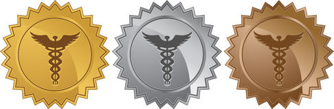 Caduceus Medical Symbol - Set of 3 Seals. Caduceus Medical symbol - set of 3 in gold, silver, bronze coins in a seal/sticker style Royalty Free Stock Image