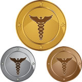 Caduceus Medical Symbol - Set of 3 with Stars Stock Photos
