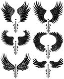 Caduceus Medical Symbol - set of 6 black and white Royalty Free Stock Photos