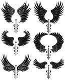Caduceus Medical Symbol - set of 6 black and white Royalty Free Stock Photos