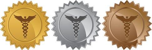 Caduceus Medical Symbol - Set Of 3 Seals Royalty Free Stock Image