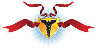 Caduceus Medical Symbol - Shield with Ribbon. Caduceus Medical shield symbol - with red ribbon and gold shield Stock Photography