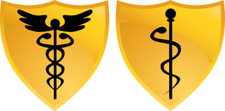 Caduceus Medical Symbol with Shields Royalty Free Stock Photo