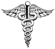 Caduceus. Medical Symbol Caduceus with snakes and wings Stock Photography