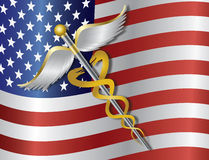 Caduceus Medical Symbol with USA Flag Background I Stock Photo