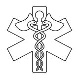 Caduceus medicine care symbol thin line Royalty Free Stock Photo