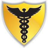 Caduceus-medizinisches Symbol mit Schild Stockbild