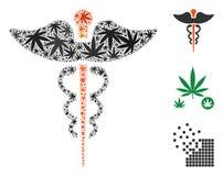 Caduceus Mosaic of Cannabis royalty free illustration