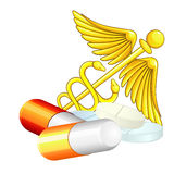 Caduceus and pills Royalty Free Stock Image