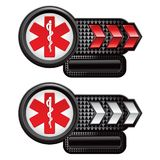Caduceus on red and white arrow banners Stock Photos