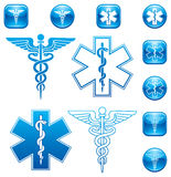 Caduceus Set. Vector Set of illustrations For Caduceus and Asclepius Staff icons and logos Royalty Free Stock Photo